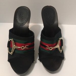 Gucci Guccissima canvas horse bit icon clog